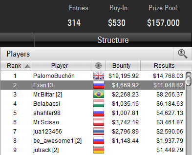 $530 Bounty Builder High Roller 20-11-2017 result