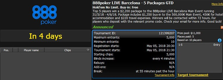 888poker LIVE Barcelona – 5 Packages GTD