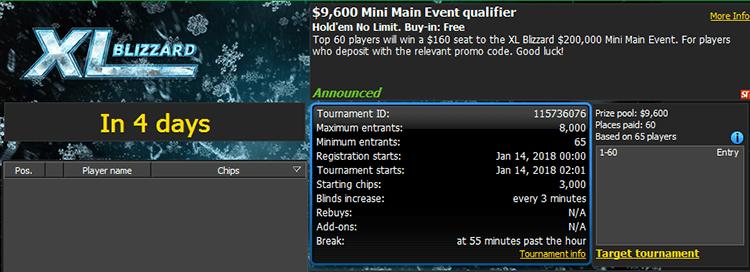 $9,600 Mini Main Event qualifier