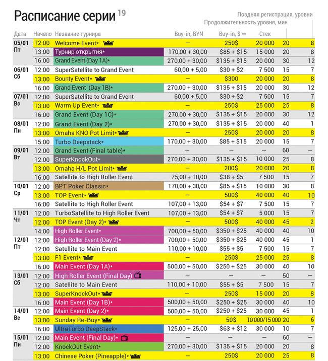 Belarus Poker Tour 19 schedule