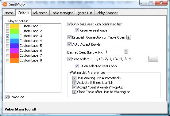 Опции ситтинг-скрипта seatmojo