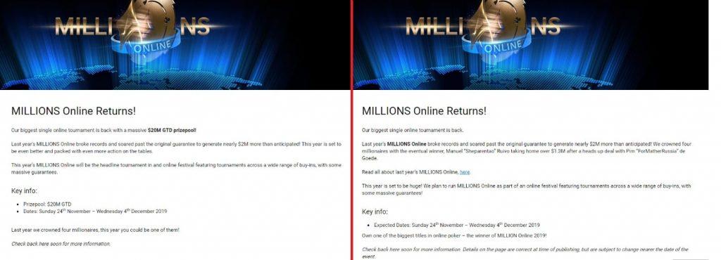 Прежняя и обновленная информация о MILLIONS Online