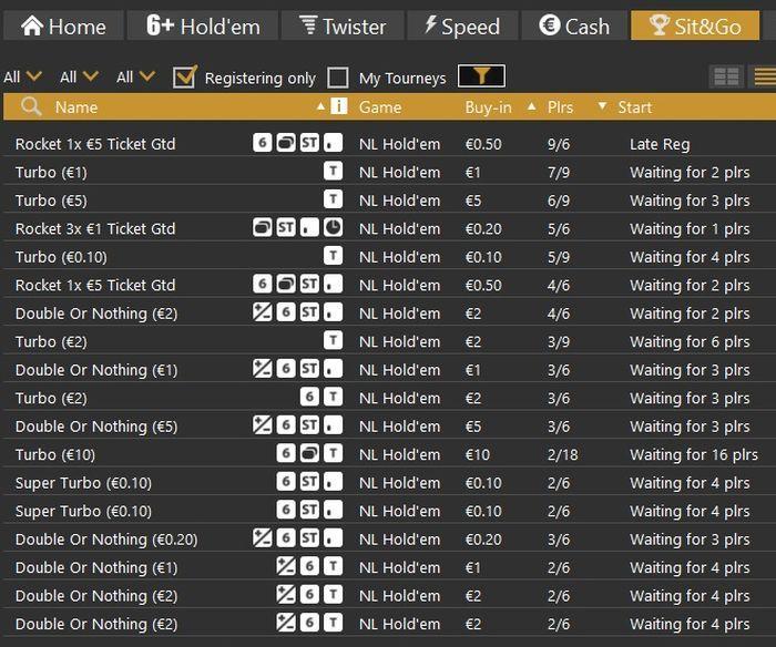 Скриншот лобби Sit & Go