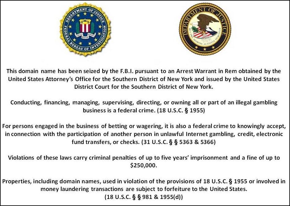 Сообщение, которое выводилось на сайте Full Tilt Poker после его закрытия ФБР
