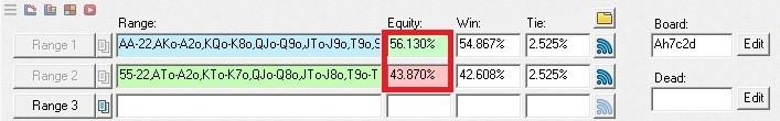 Соотношение эквити на доске А72 в примере