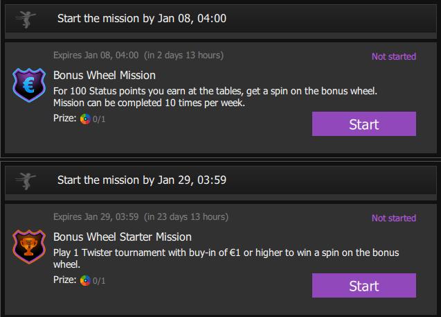 Titan Poker Bonus wheel mission