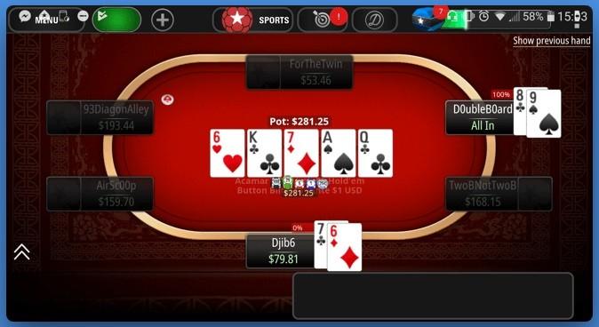 Вид 6+ Holdem на мобильной версии PokerStars