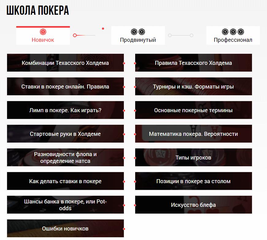 Категории бесплатного материала Академии покера
