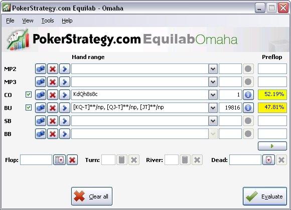 Омаха калькулятор Equilab от PokerStrategy - скачать бесплатно