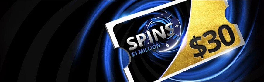 Все новые игроки при внесении депозита получают билеты на турниры Spins на сумму до $30. Можно выбрать два варианта приветственного бонуса.